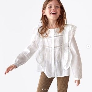 Zara girls off white flounced blouse with lace